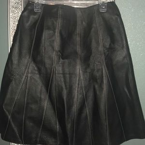 Leather skirt with pink trim